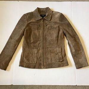 Alfani suede leather jacket size m light brown